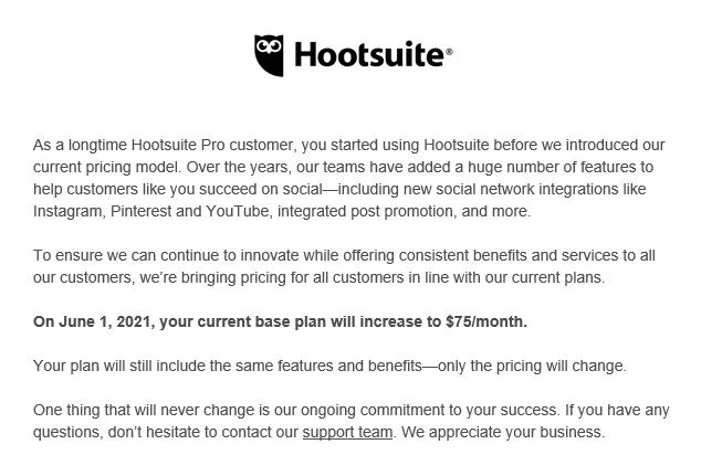Email announcing Hootsuite price rises