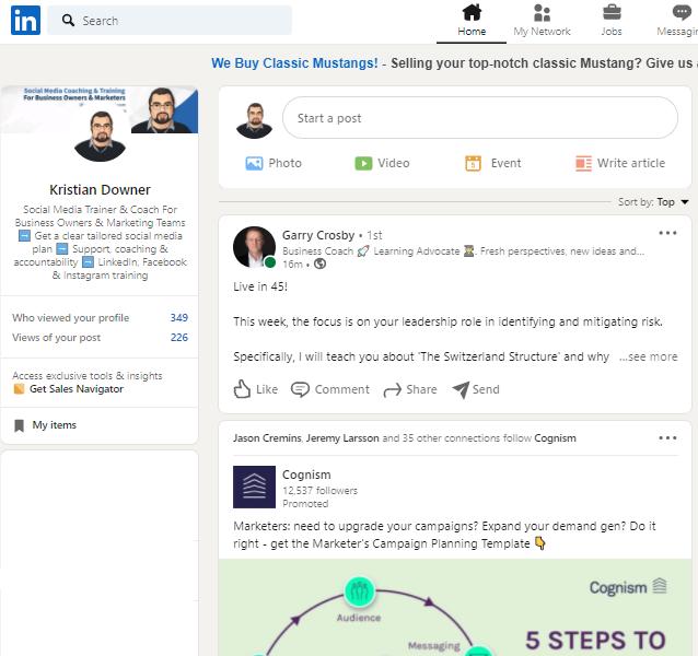 Image of the LinkedIn Profile Home Feed